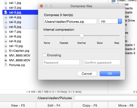 Compress files with Commander One