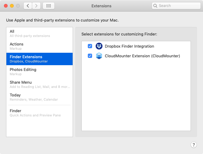 Finder Extensions window