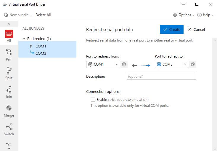 Redirecting serial data