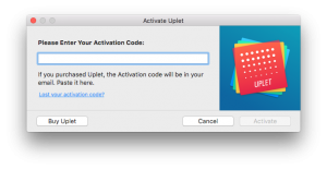 Uplet enter activation code