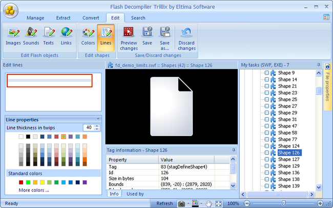 Edit shapes' lines with Flash Decompiler Trillix for Windows